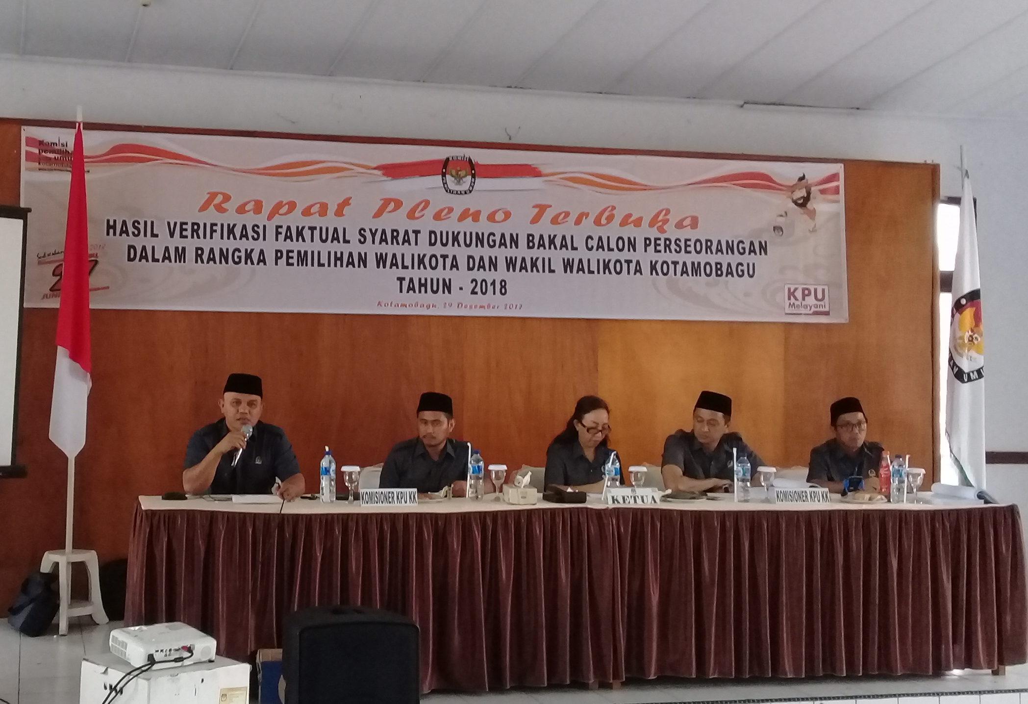 KPU Kotamobagu Gelar Pleno Terbuka Hasil Verifikasi Faktual Calon Perseorangan