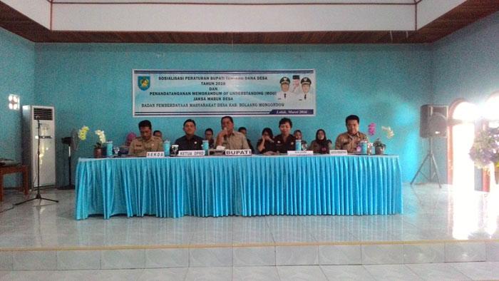 Bupati Bolmong Buka Sosialisasi Pengelolaan Dana Desa Serta Penandatanganan MOU Program Nasional JMD.