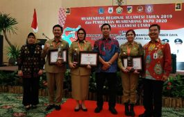 Dibawa Pimpinan TBNK Pemkot Kotmobagu Terima Penghargaan Terbaik Ke II Bidang Sanitasi Se - Sulut