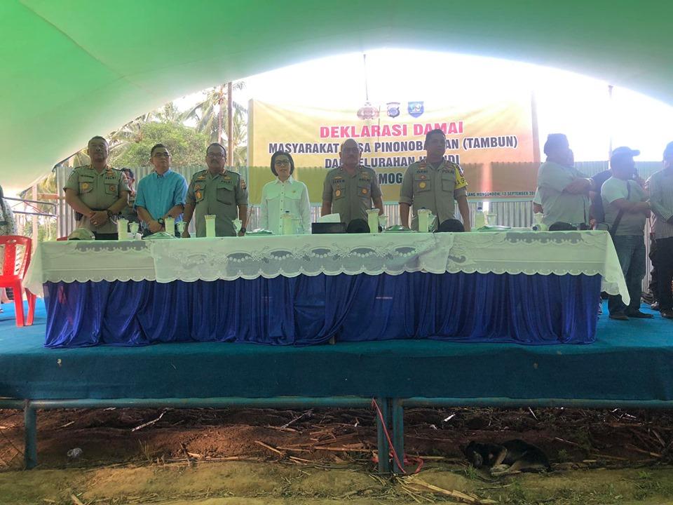 Bersama Waka Polda Sulut Bupati Bolmong Hadiri Deklarasi Damai Tambun Vs Imandi