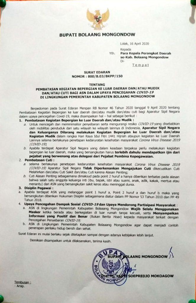 Bupati Keluarkan Surat Edaran ASN Bolmong Dilarang Mudik dan Cuti