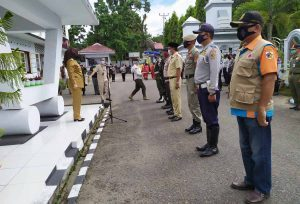Wali Kota Pimpin Apel Gelar Pasukan Satgas Covid 19 di Kantor Pemkot