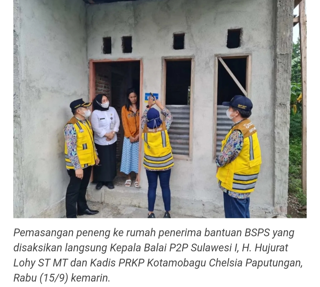 Dinas PRKP Kotamobagu Dampingi Tim Kementerian PUPR Kunjungi Rumah Penerima BSPS.